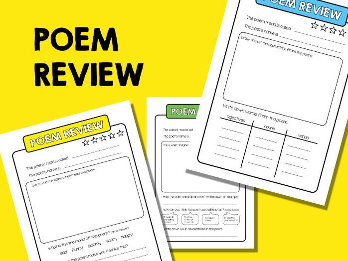 Poem Review Sheets.