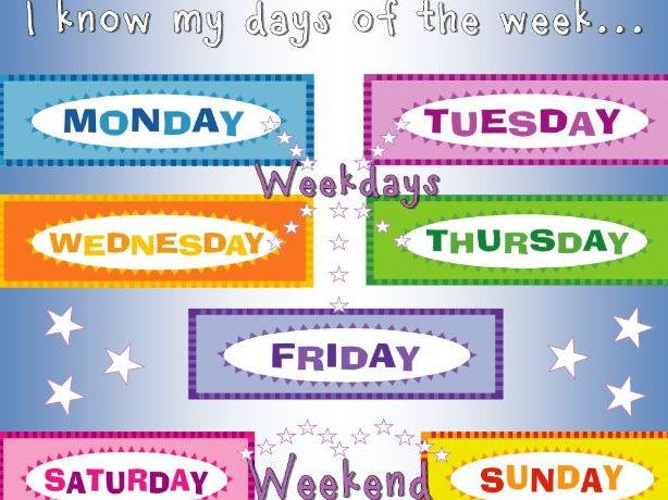 A4 poster Days of the Week