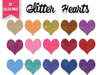 Valentines Day Glitter Hearts | Rainbow Glitter Hearts Clipart