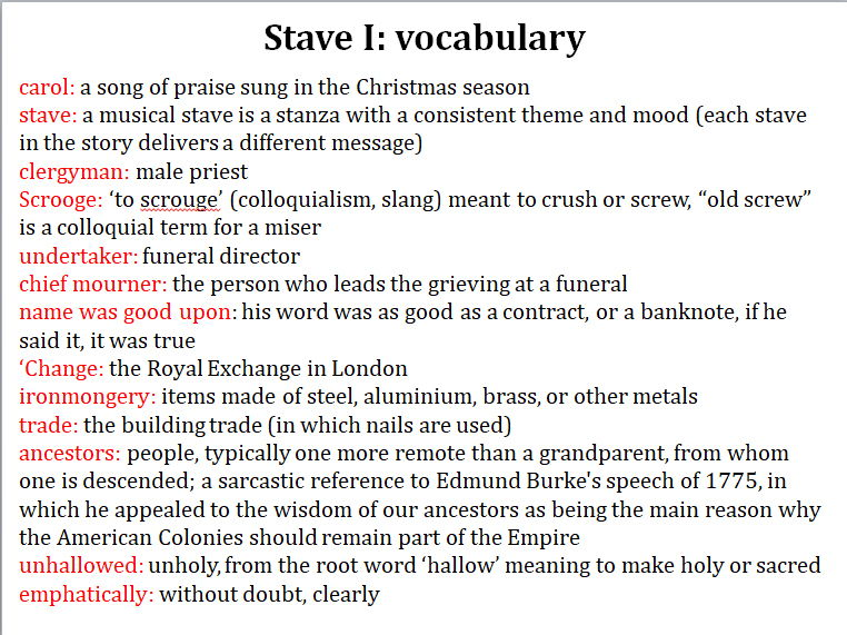 A Christmas Carol: difficult words or phrases explained in modern English, Stave by Stave