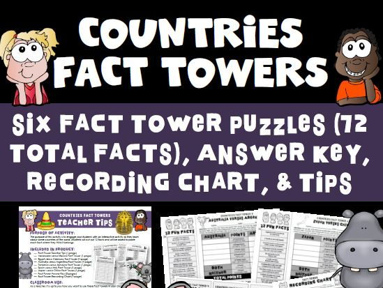 World Countries Fact Tower Activity