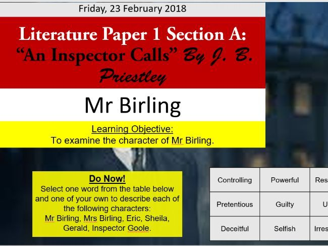 'An Inspector Calls' - Mr Birling