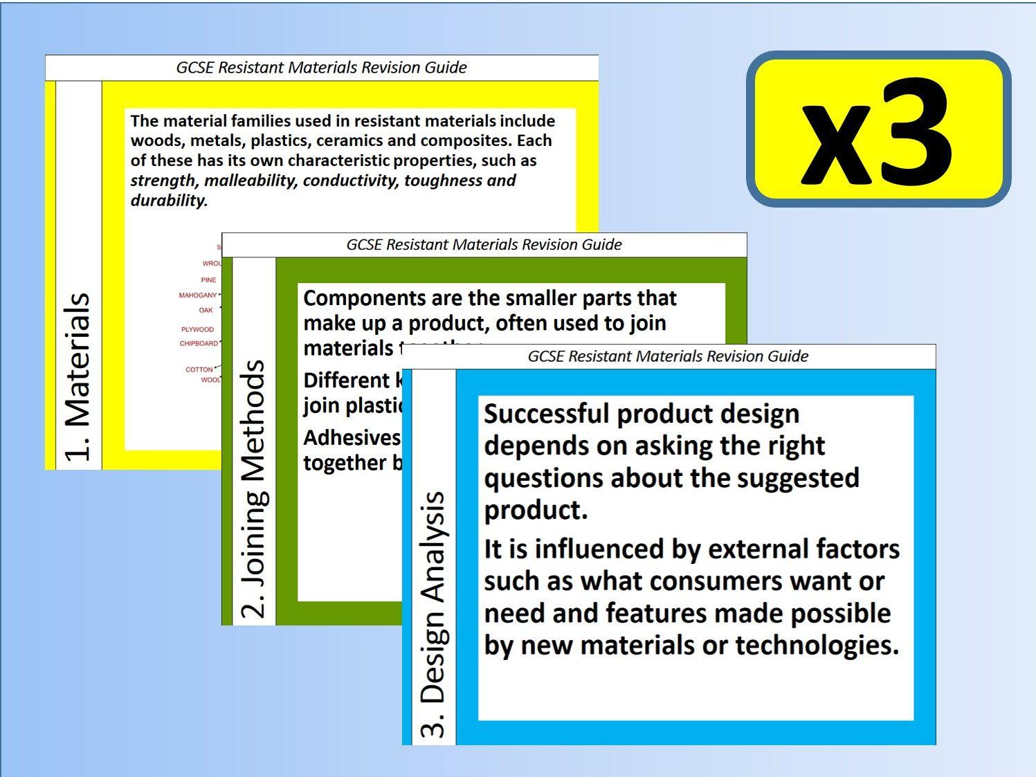 3 x GCSE Resistant Materials Revision Study Guides