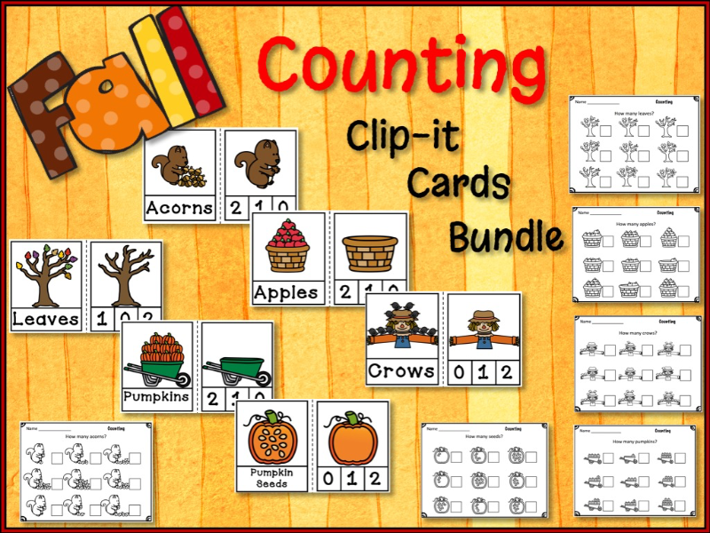 Fall Counting Clip It Cards