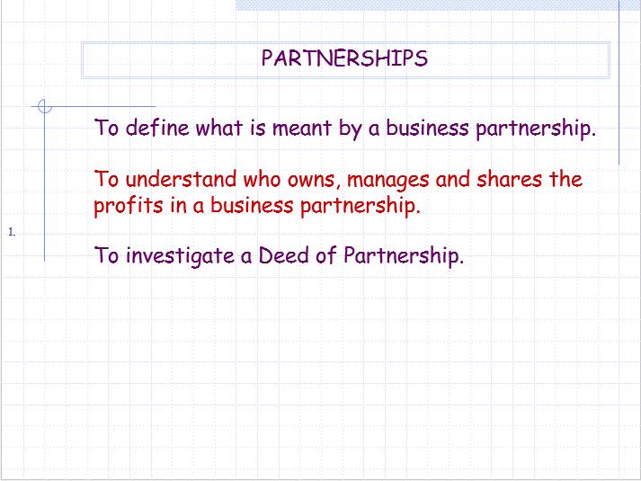 OCR GCSE Applied Business Lesson 2 - Partnership