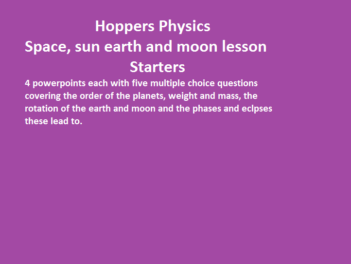 Space:  Sun, earth and moon lesson starters