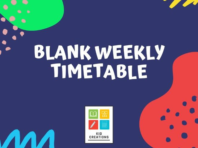 Blank Weekly Timetable