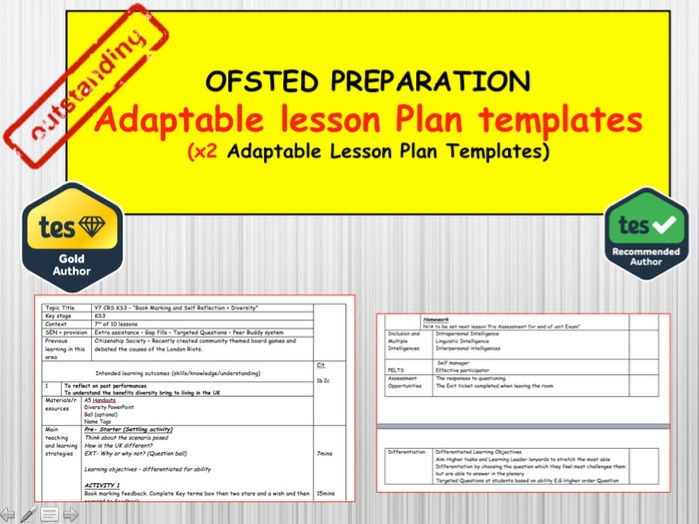 OFSTED READY:  Adaptable Lesson Plan templates x3 Subject Examples
