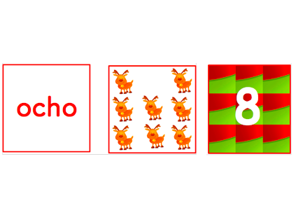 Spanish- Christmas Number Cards Game 1 to 10. Navidad