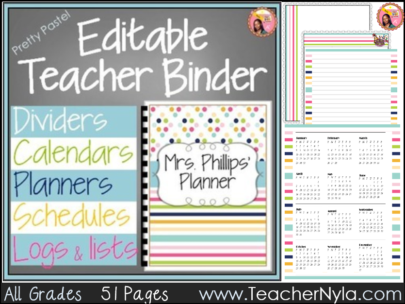 Editable Teacher Binder 2018-2019 Pastel