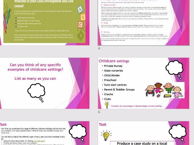 CACHE VCERT Childcare - Child Development & Care - Childcare Settings Whole Lesson & Sheets