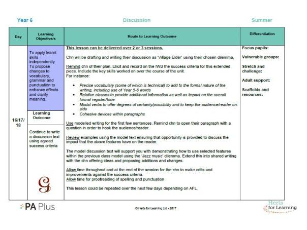 Detailed English Plan Year 6 discussion (transition unit)
