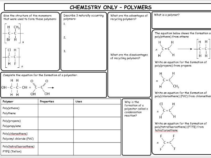 GCSE Edexcel 2016 9-1 Chemistry revision sheets (Full GCSE chemistry with triple/ separate content)