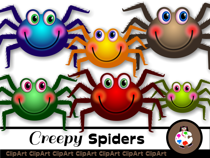 Cartoon Happy Spider Clip Art