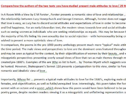 A-Level English Literature (AQA) - A Room with a View and Poetry Example Answer