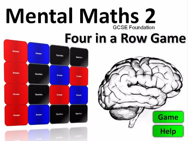 Four in a Row Interactive Quiz Game: Mental Maths GCSE Foundation 2