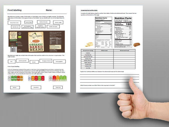 Food cover work / cover lesson - Food labelling - 1hr activity