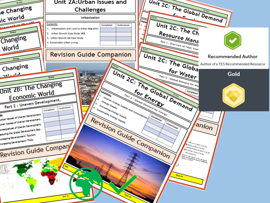 GCSE AQA 9-1 Syllabus Unit 2 Challenges in the Human Environment, Revision Booklets - Flipped Learning Bundle.