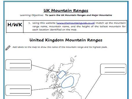 KS2/3/4 UK Mountain Range Labelling Homework