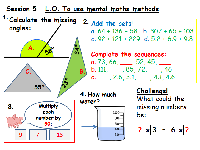 Primary maths lessons and worksheets bundle