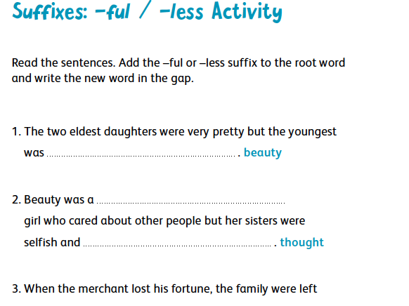 Suffixes: -ful and –less