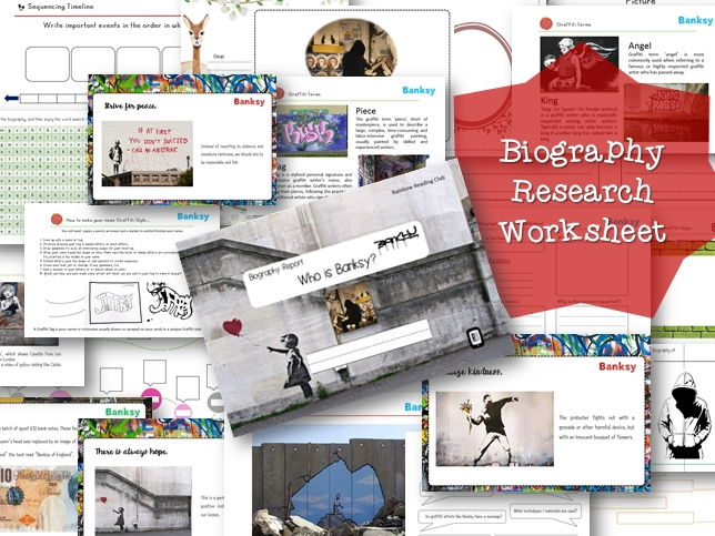 Biography Research Report / Banksy Biography worksheet