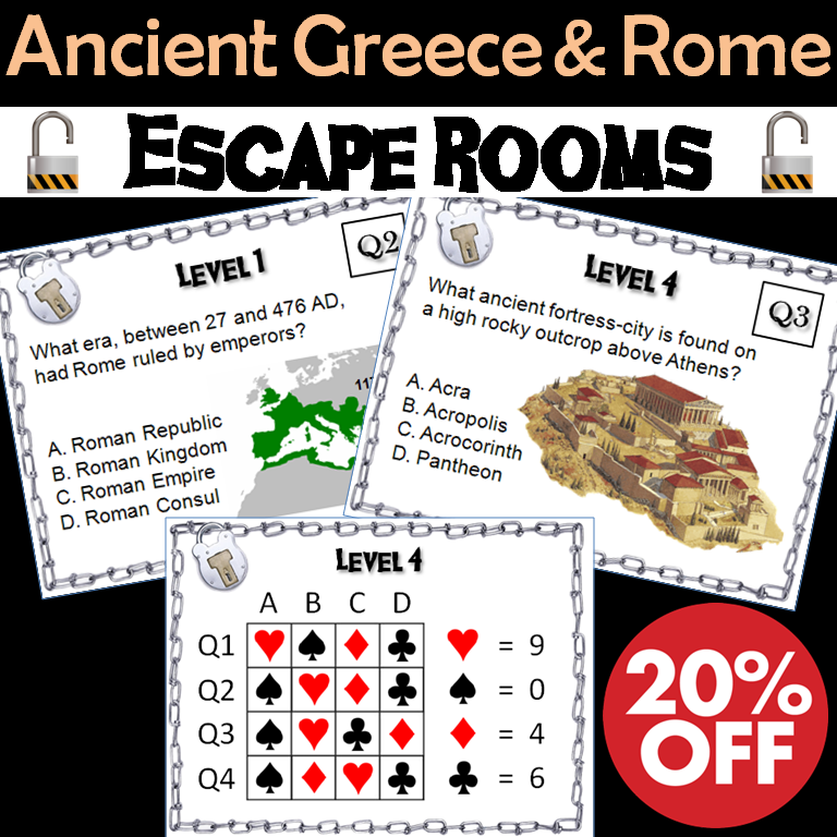 Ancient Greece and Rome: Escape Room - Social Studies Mini-Bundle