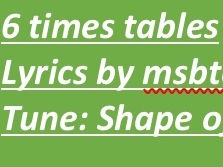 Six times tables - Shape of You