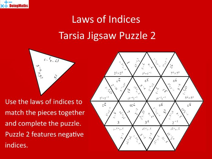 Laws of Indices Tarsia Jigsaw Puzzle 2