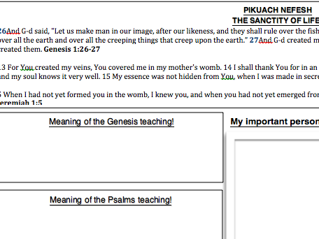 Eduqas RS GCSE New Spec. Judaism pikuach nefesh worksheet