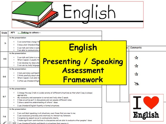 English Speaking and Presenting 9-1 Assessment Checklist for students to self and peer assess