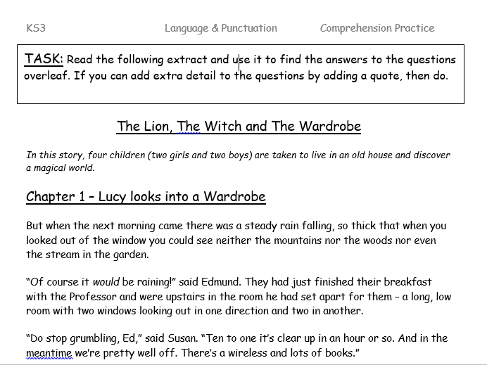 The Lion, the Witch and the Wardrobe - Chapter 1 Comprehension