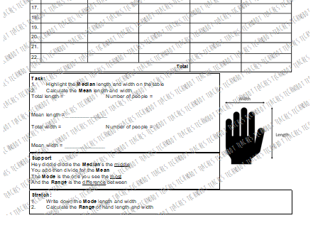 Anthropometric Data Task: Hand Sizes