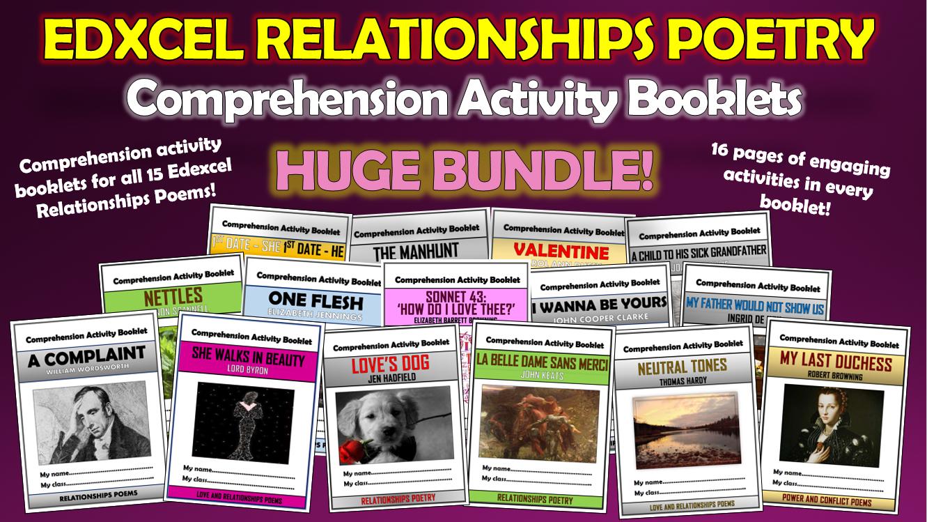 Edexcel Relationships Poetry Comprehension Booklets Bundle!
