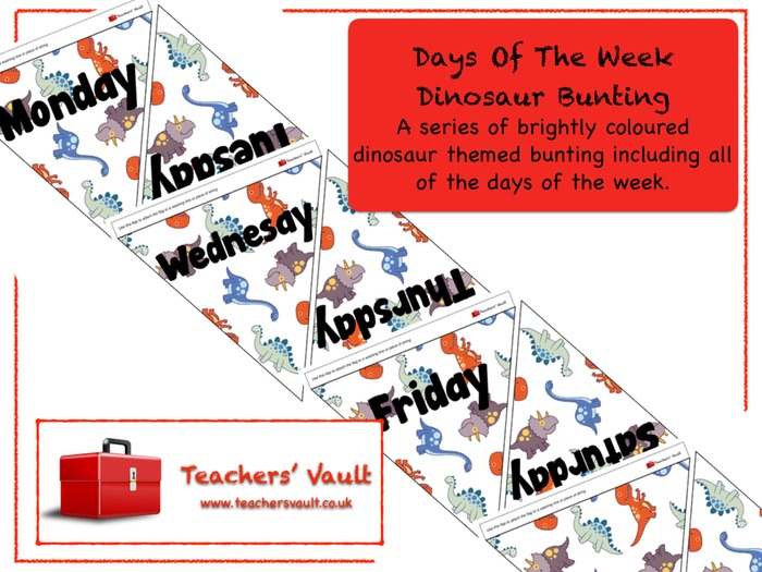 Days Of The Week Dinosaur Bunting