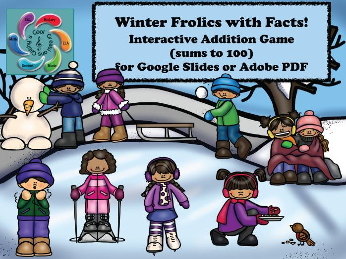 Interactive Addition Game for Google Slides /Adobe -Winter Frolics with Facts