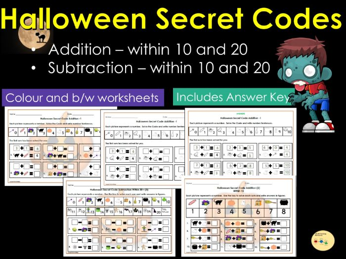 Halloween Addition and Subtraction Secret Codes to 10 and then 20 Worksheets with Answers