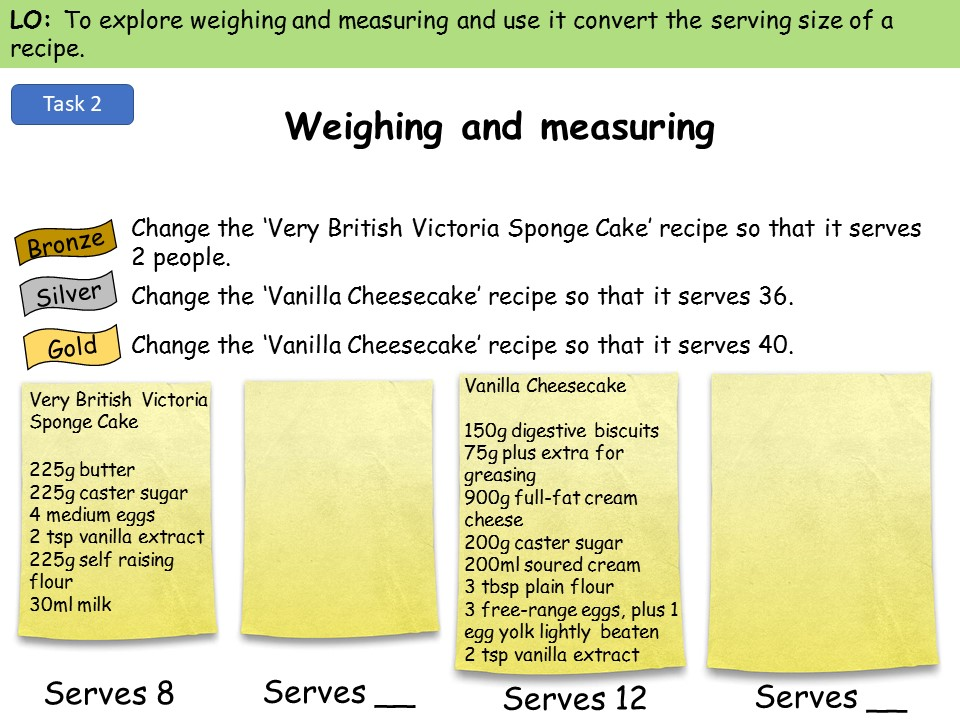 Weighing and measuring ingredients - KS3