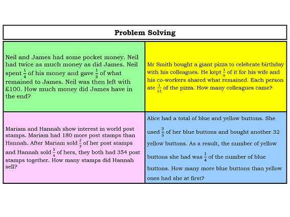 Fractions Word Poblem Solving Grid