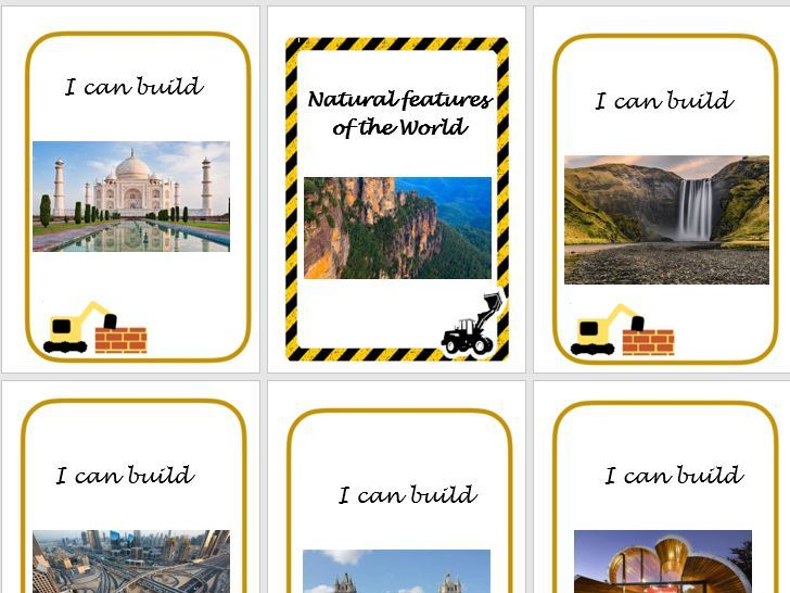 Construction Area landmark, natural  and human features cards