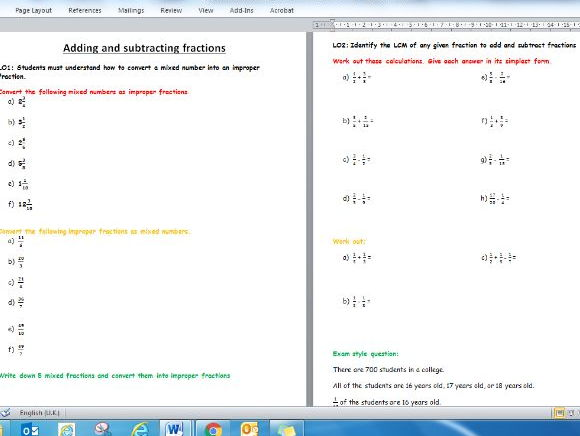 Adding and Subtracting Fractions Worksheet - Edexcel Foundation/KS3