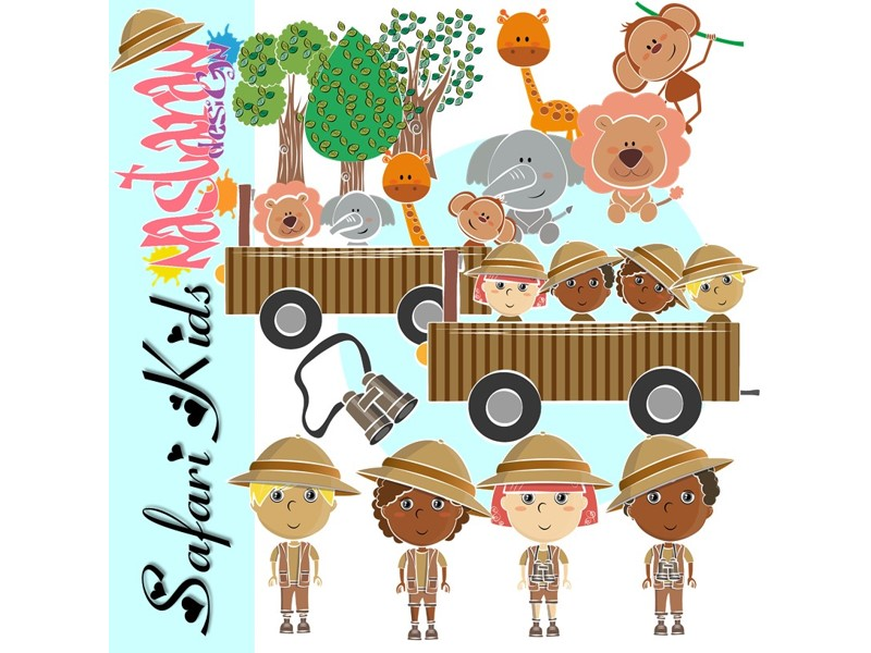 Safari Kids Clip art