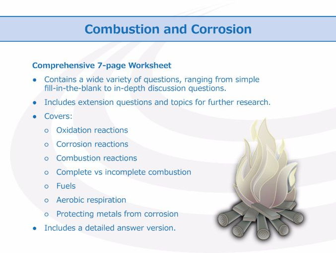 Combustion And Corrosion Worksheet By