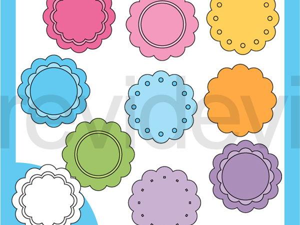 Scallop Pastel Tags Clip art - Teacher resource