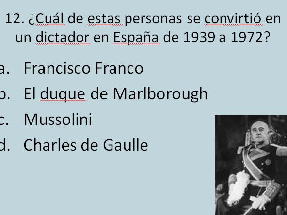 Quiz - Cultura espanola - útil para Year 9, Year 10, Year 11