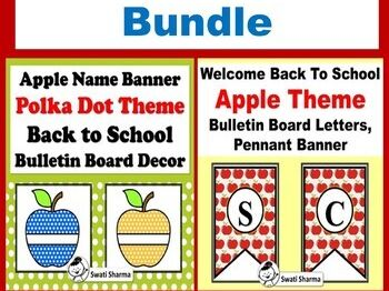 Apple Theme, Back to School Bulletin Board Decor, Bundle