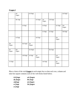 Fragen German verb present tense Sudoku