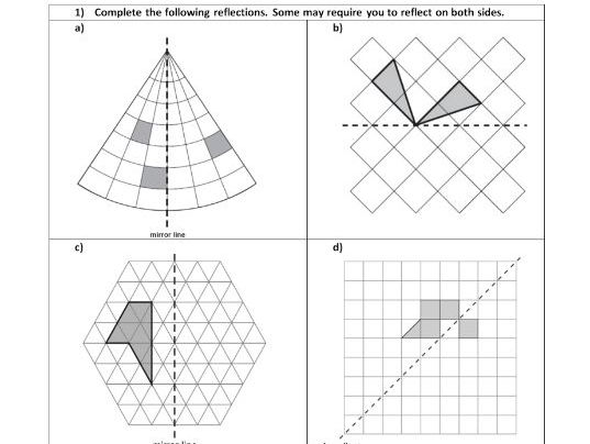 Reflection - Geometry - Position of shape - ks2 year 5 & 6  - WORKSHEET ONLY HA - MA