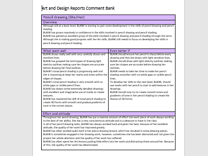 Bank of Comments for Art and Design Reports