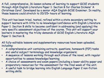 Full scheme of learning for 'A Christmas Carol' - GCSE AQA